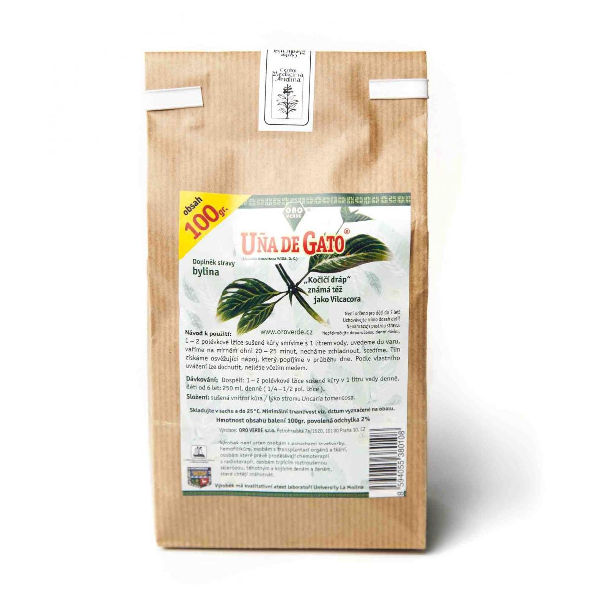 Vilcacora (Vilkakora, Uňa de Gato, Mačací pazúr, Uncaria tomentosa) čaj - 100 g