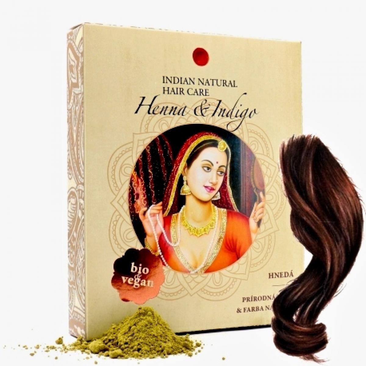 Henna + Indigo - Prírodná farba a kúra na vlasy - Hnedá - Indian Natural Hair Care 200 g